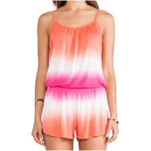 young fabulous and broke ombré pink orange romper